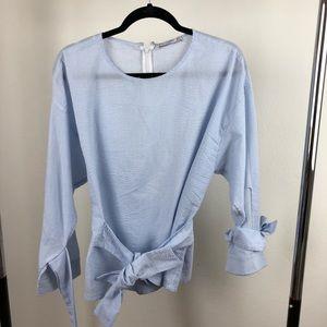 Mango Tops - wrap tie blouse